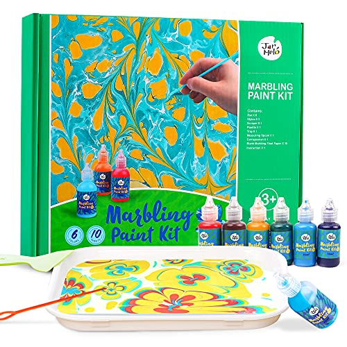 Jar Melo Water Marbling Paint Kit for Kids; 6 Colors, Marble Kit,Non-Toxic; Water Art Paint Set, Art & Crafts Kit for Girls & Boys Ages 6-8, Art Kits