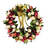 Decormy 13.8inch Rose Wreath Artificial Flower Blossom Garland Floral Wreaths Spring Decor Home Office Wall Wedding Decoration