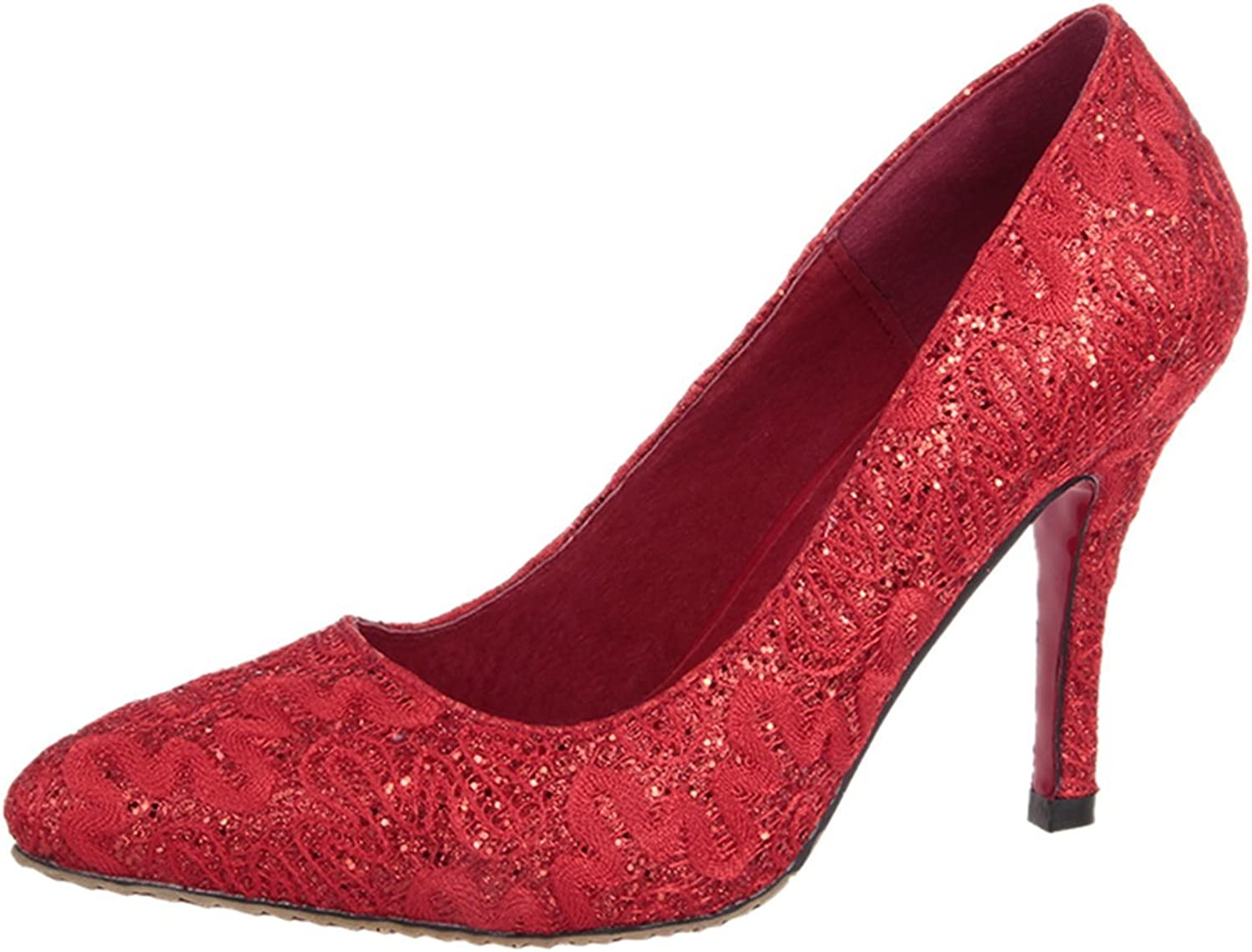ONCEFIRST Womens Low Heel Lace Paillette Dress Pumps