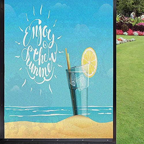 Enjoy The Summer - Película de privacidad para ventanas, para sala de estar, baño, multicolor 60 x 90 cm