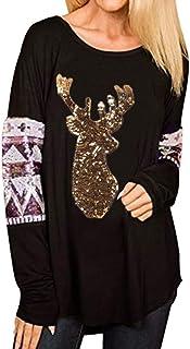 女性のクリスマストップス、三番目の店 ファッション 女 メリークリスマス ワピティ エルク プリント トップス オフショルダー Oネックロングスリーブ プルオーバーブラウス プルオーバーセーター