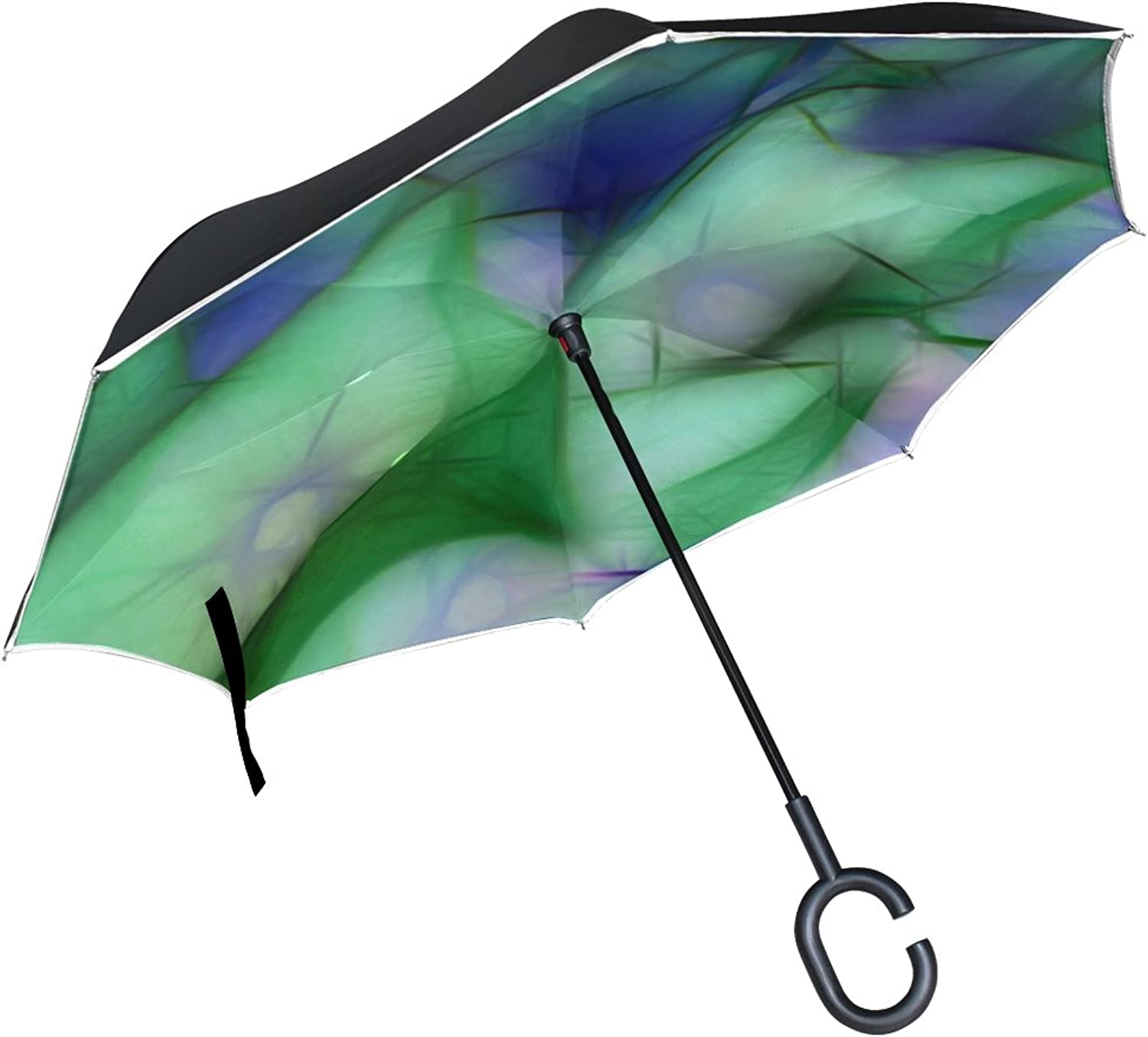 Double Layer Ingreened Pattern Abstract blueee Green Umbrellas Reverse Folding Umbrella Windproof Uv Predection Big Straight Umbrella for Car Rain Outdoor with CShaped Handle