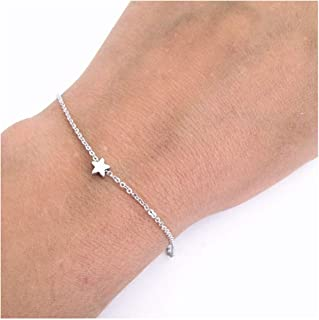 Olbye Star Bracelet Tiny Star Charm Hand Chain Everyday Hand Jewelry for Women and Girls (Silver)