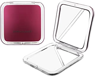 Magnifying Compact Mirror - SNOWFLAKES Elegant Compact Pocket Makeup Mirror Double Sided 1x/10x Magnification Cosmetic Mirrors Handheld Portable for Travel and Purses (Purple)