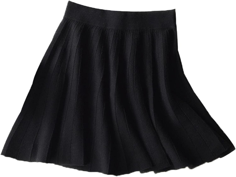 BURJKFD QingTeng Women39;s Skirt Midi Pleated Female Knitted Wool Cashmere Office Short Mini Skirts