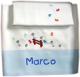 """ZIGOZAGO - Set per culla o lettino""""PECORELLE"""" in piquet di cotone in 3 pezzi con nome personalizzato. Federa, lenzuolo e c..."""