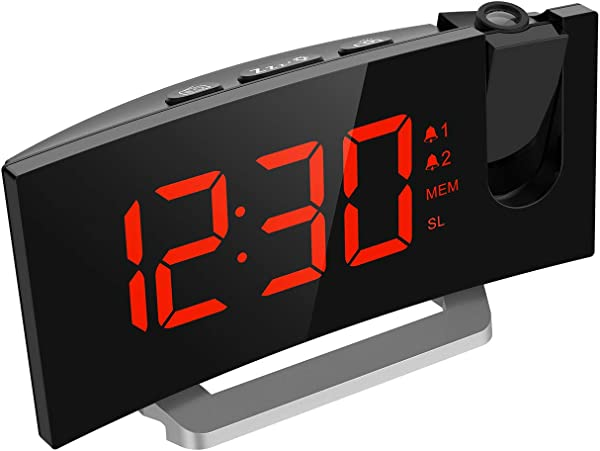 Mpow Projection Digital Alarm Clock 5 LED Curved Screen Projection Clock FM Radio Alarm Clock Dual Alarm Clock With 4 Alarm Sounds 12 24 Hour