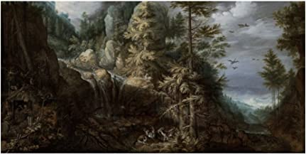 Global Gallery Art on a Budget Roelandt Savery Landscape with The Temptation of Saint Anthony Unframed Giclee on Paper Print, 12
