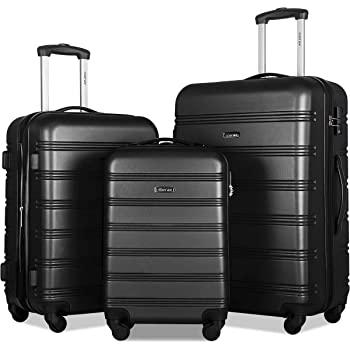 Merax Expandable Luggage Sets with TSA Locks, 3 Piece Lightweight Spinner Suitcase Set (Black2020)