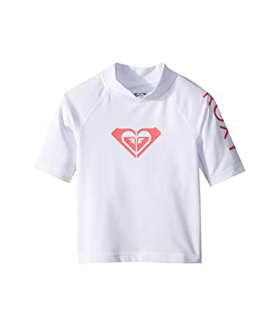 Roxy Kids Whole Hearted Short Sleeve Rashguard (Toddler/Little Kids/Big Kids) (Bright White) Girl