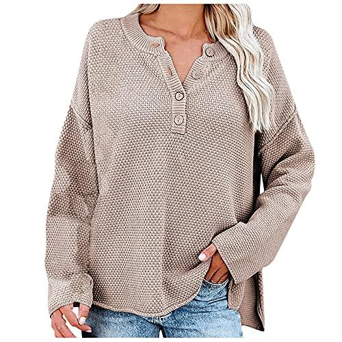Wave166 Jersey de punto para mujer, de un solo color, con botón, cuello redondo, manga murciélago, moda suelta, para otoño, caqui, XL