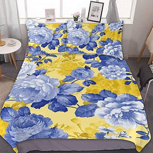 88888 Maison des Fleurs Bettwäsche-Set, Mikrofaser, für kleine Doppelbetten, französische Gartenrosen, gelb, dekoratives 3-teiliges Bettwäsche-Set mit 2 Kissenbezügen, ohne Bettlaken