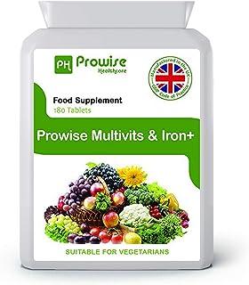 Multi Vitamins & Iron 180 Tabletas (dosis de 6 meses) - Suplemento diario de multivitaminas One A Day - Fabricado en UK a calidad GMP garantizada - Apto para vegetarianos