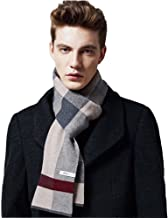 MUNI Wool Cashmere Mens Scarfs Winter and Autumn Plaid Long Scarf Designer, as an Elegant Gift