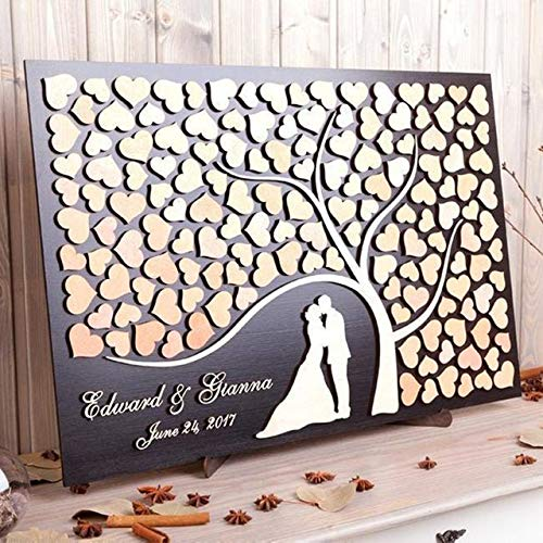 happygoluck1y Libro de visitas de boda en 3D Alternativa Árbol de la Vida Nombre y Fecha Personalizado Libro de Visitas de Boda Rústico Árbol de la Boda Muestra de Libro de Visitas de Boda Reg