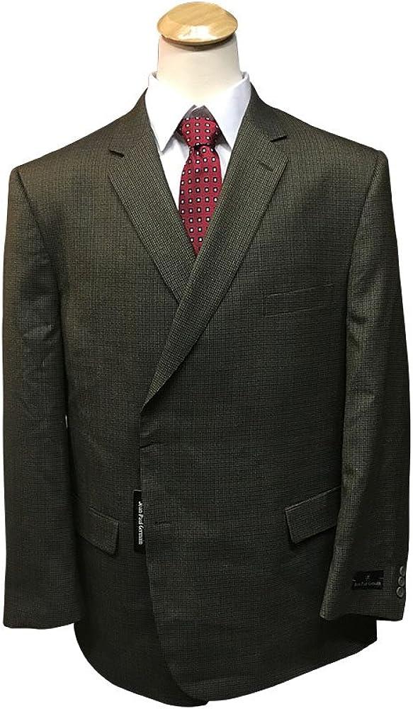 Jean-Paul Germain 54 Long Portly 100% Wool Executive Tan Beige Mini Check Sport Coat 54PL