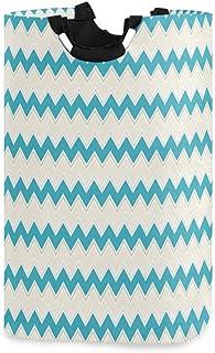 COFEIYISI Grand Organiser Paniers pour Vêtements Stockage,Chevron Zigzag Bleu Canard imprimé Classique,Pliable Sac à Linge...