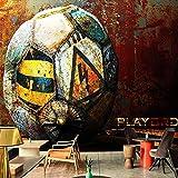 Fotomurales Papel Tapiz Mural 3D Fábrica Retro Fútbol Metal Fresco Restaurante Café Ktv Bar Fondo Pintura De Pared Foto S Seda 350X256Cm