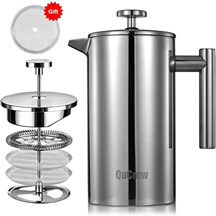 QuCrow French Press Coffee Maker, 18/10 Stainless Steel Coffee Press, Double Wall Insulated French Press with 2pcs Bonus Screen, 34 fl. oz (1 Liter)