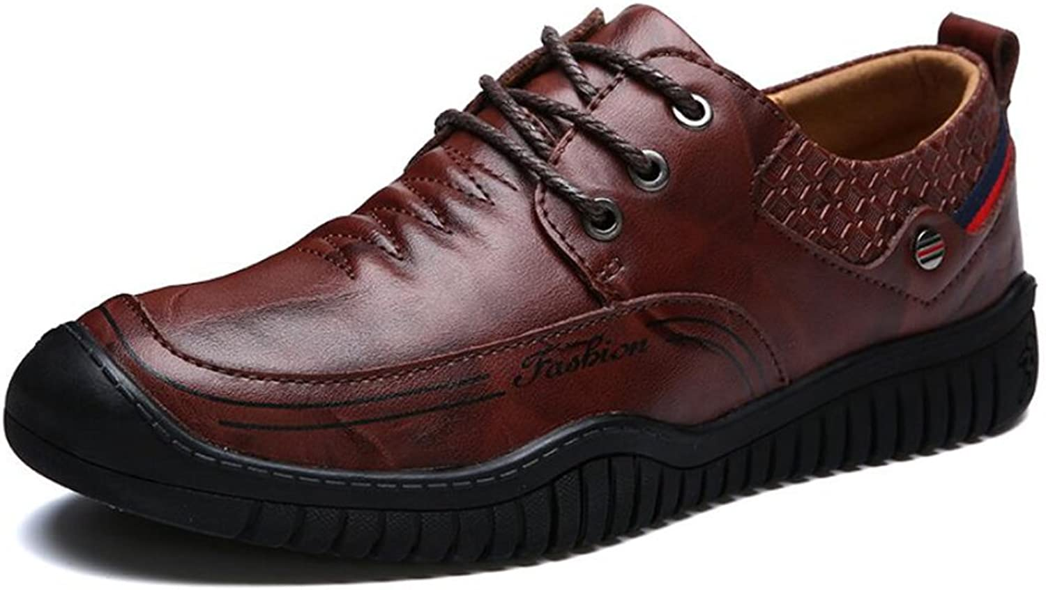 Men's shoes Leather Spring Summer Loafers Lace-up shoes Driving shoes Sneakers Comfort Walking shoes Athletic Breathable Casual Outdoor Formal Business Work (color   A, Size   40)