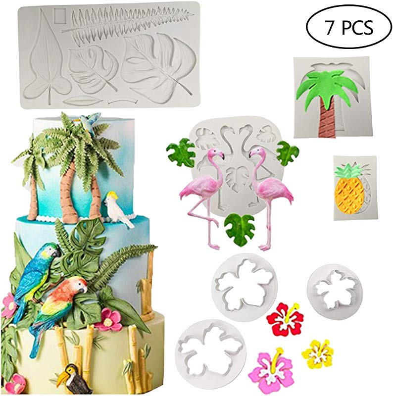 7 PCS Hawaiian Tropical Theme Cake Fondant Mold Flamingo Palm Leaves Coconut Tree Leaves Pineapple Flowers Candy Chocolate Mold For Summer Cake Decorating