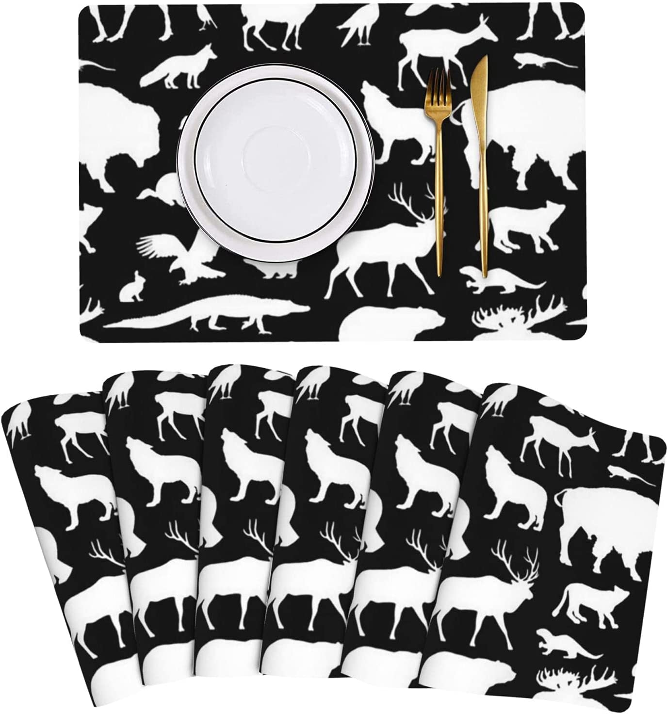 Max 74% OFF North American Animals On Black Mats Ranking integrated 1st place Leather Placemat Table Set