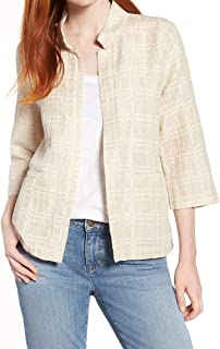 Eileen Fisher Womens Plaid Open Front Jacket