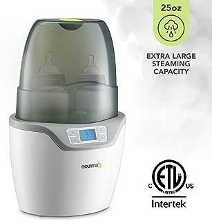 Gourmia Jr. Double Baby Bottle Sterilizer and Warmer, Digital Display, Dishwasher-Safe Removable Parts, JBW250, ETL-Certified