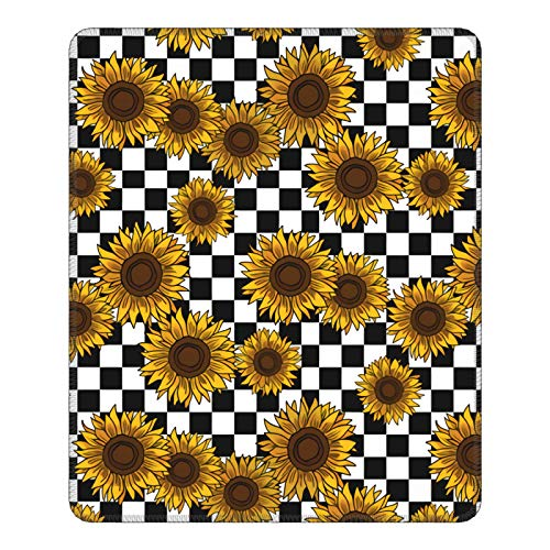 90s Sunflowers Checkerboard Mouse Pads for Wireless Mouse with Stitched Edge Non-Slip Rubber for Laptop Computer-Pc