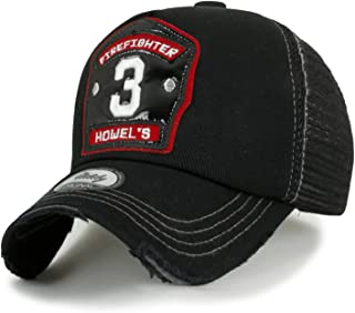 ililily Firefighter Embroidery Patch Casual Mesh Baseball Cap Trucker Hat