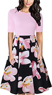 Women's Vintage Patchwork Half Sleeve Slim Fit and Flare Floral Swing Dress with Pockets