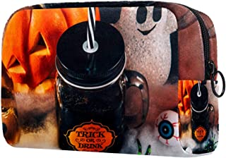 Halloween Ghost Pumpkin Makeup Bag Toiletry Bag for Women Skincare Cosmetic Handy Pouch Zipper Handbag