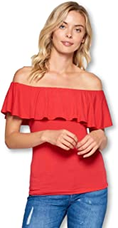Women's Natural Bamboo Off Shoulder Ruffle Overlay Top Made in USA