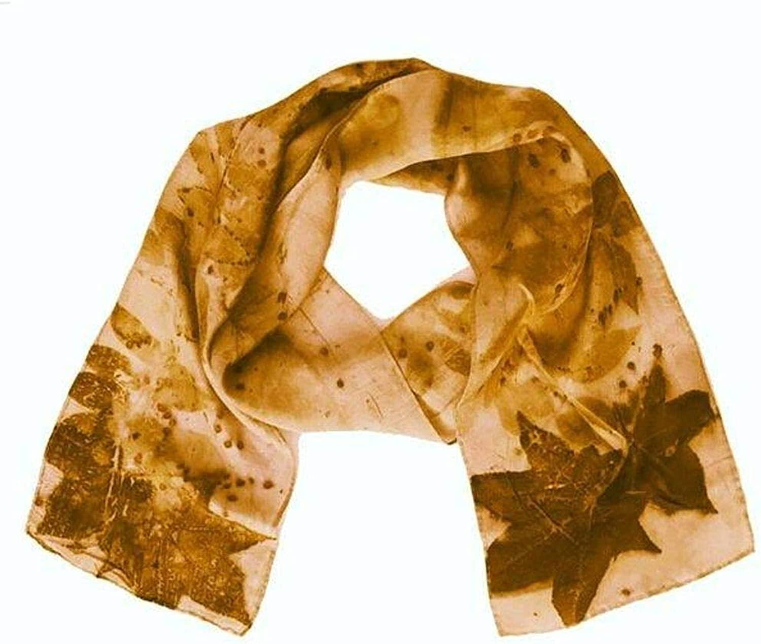Earth Accessories Handmade 100% Silk Scarf  EcoFriendly, Sustainable Production with Natural Leaf Imprints