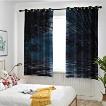 MaryMunger Night Sky Simple Curtain Witchcraft Spell Ceremony Atmosphere Forest Full Moon Branches Image Hipster Patterned W 63