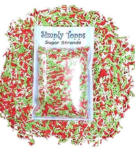 Red, White & Green Sugar Strands Cake Sprinkles 30g for...