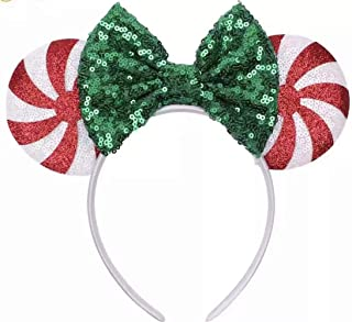 CLGIFT Red peppermint Minnie ears, Peppermint Mickey ears, Christmas Minnie ears, Silver gold blue minnie ears, Rainbow Sparkle Mouse Ears,Classic Red Sequin Minnie Ears (Christmas Candy Cane)