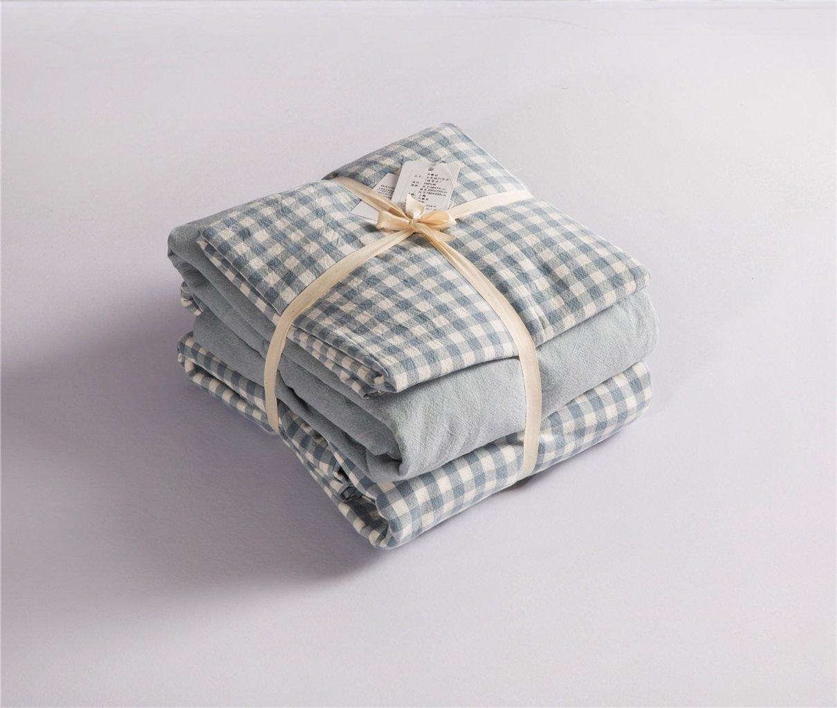 Jeanpop简璞 日式良品寝具 水洗棉床笠四件套 A类品质 婴幼儿安全标准 亲肤零刺激 1.5米床适用(蓝白格)