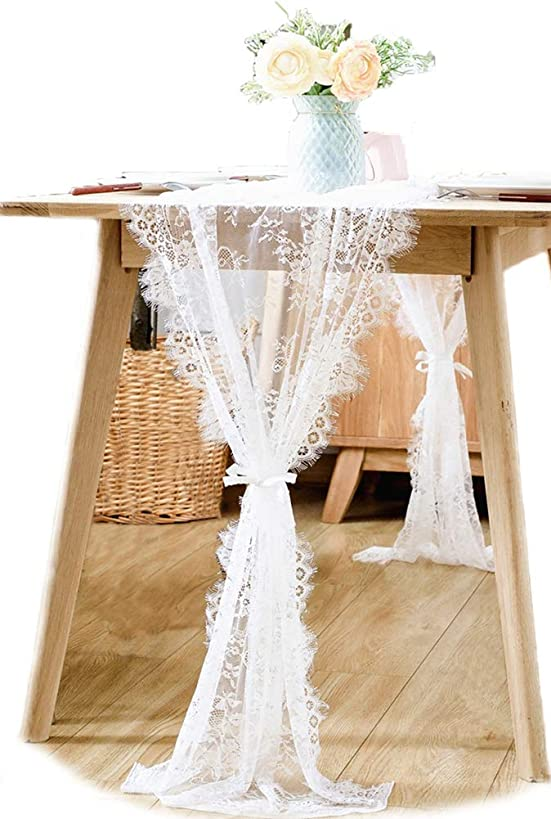 BOXAN 30x120 Inch White Classy Lace Table Runner/Overlay with Rose Vintage Embroidered, Rustic Boho Wedding Reception Table Decor, Fall Thanksgiving Christmas Baby & Bridal Shower Party Decoration