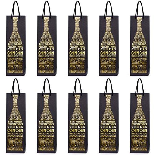 10 Flaschentüten Geschenktüten für Wein Prosecco und Champagner 40 x 12 x 9 cm Glückwünsche