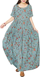 YESNO Women Casual Loose Bohemian Short Sleeve Floral Dress with Pockets Long Maxi Summer Beach Swing Dress EJF