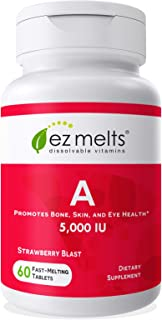 EZ Melts A as Retinol, 5,000 IU, Immune Support, Sublingual Vitamins, Vegan, Zero Sugar, Natural Strawberry...