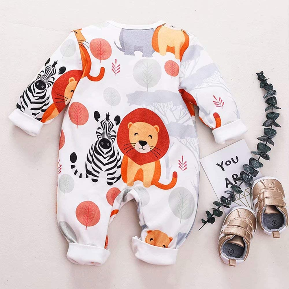 TAOHONG Infant Baby Animals Print Romper Long Sleeve Cute Lions Graphic Jumpsuit Pajamas Outfit