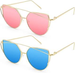 Livhò Sunglasses for Women, Cat Eye Mirrored +...