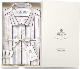 ルイジボレッリ ルイジボレリ LUIGI BORRELLI / 20SS!コットンポプリンストライプセミワイドカラーシャツ「LUCIANO(9398)」 (ホワイト×ボルドー×ベージュ) メンズ