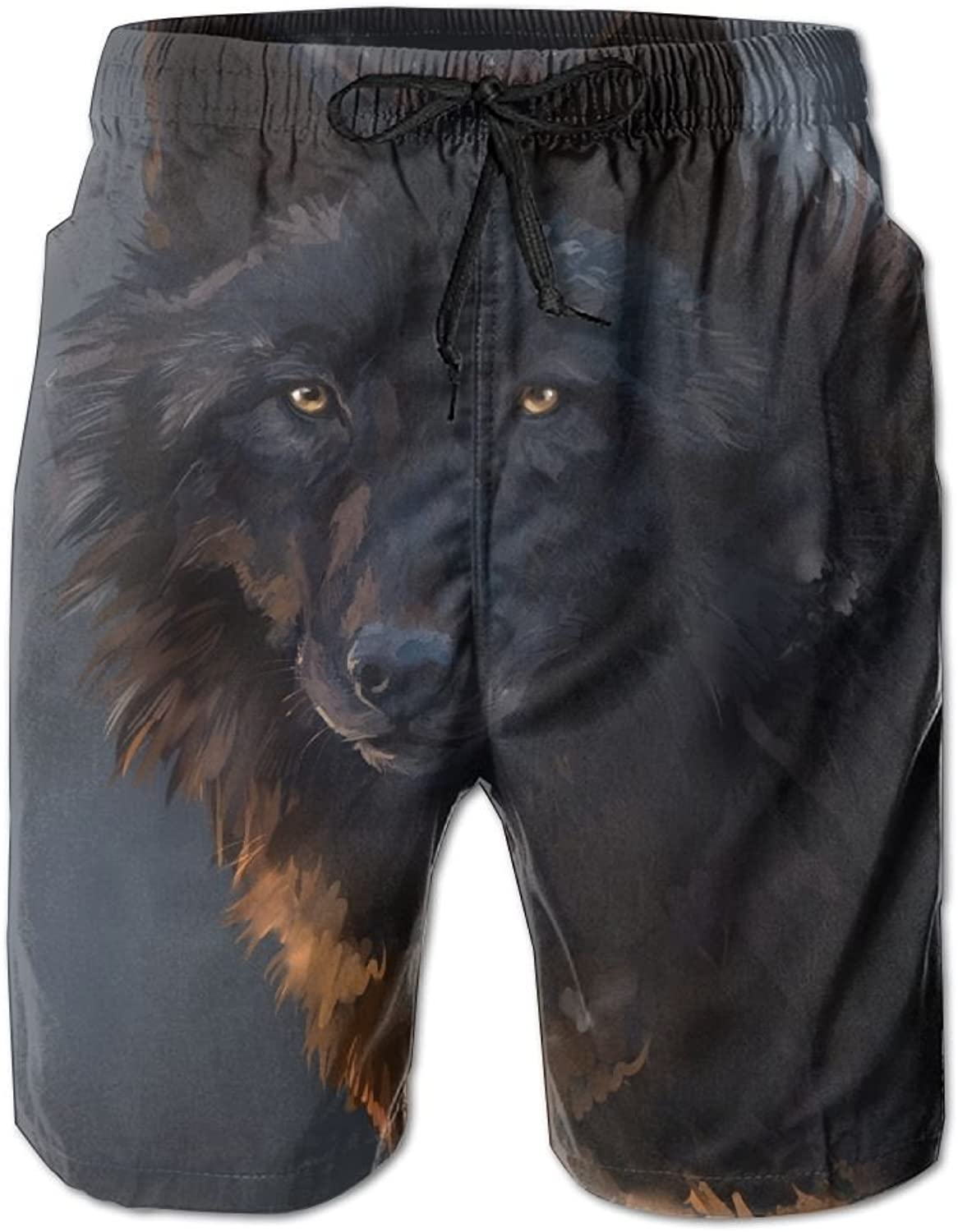 121f93deb1f7 Mens Quick Dry Beach Beach Beach Shorts Black Longly Wolf Floral  Boardshorts Swim Surf Trunks 30e722