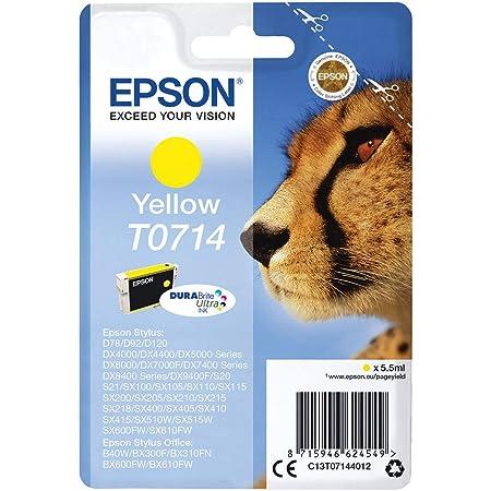 Epson T0714 Tinte Gepard Wisch Und Wasserfeste Singlepack Gelb Bürobedarf Schreibwaren