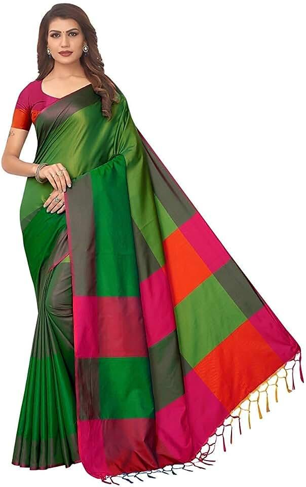 Indian Dhruvi Trendz Soft Cotton & Silk Saree For Women Half Sarees Under 349 2019 Beautiful For Women saree free size with blous... Saree