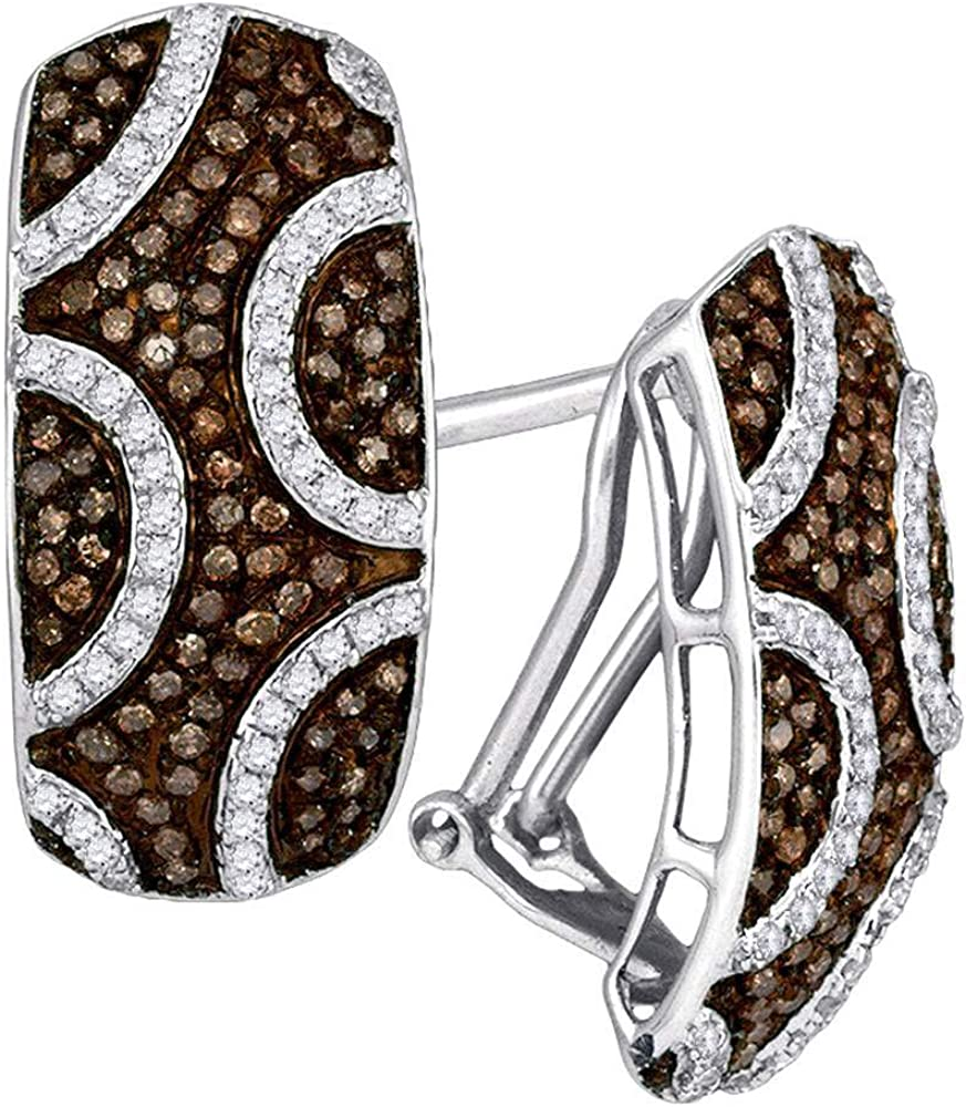 10kt White Gold Round Brown Diamond Hoop Earrings 7/8 Cttw