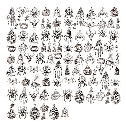 Herrdan 100 Piezas Mixto Esqueleto Cráneo Encantos De Halloween Colgantes Vintage para Bricolaje Pulsera Pendientes Fabricación De Joyas